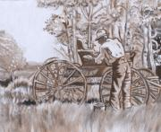 Wyoming Paintings - Girl in Hat with Granddad and Buggy by Dawn Senior-Trask