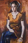 Warm Colors Paintings - Girl in Orange by Victoria  Shea