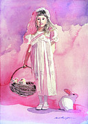 Pink Shoes Prints - Girl in Pink Print by David Lloyd Glover