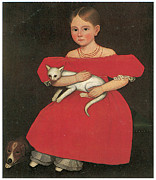 Fine American Art Prints - Girl in Red with Her Cat and Dog Print by Ammi Phillips