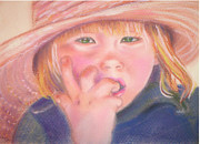 Red Eyes Pastels Posters - Girl in Straw Hat Poster by Julie Brugh Riffey