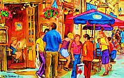 Montreal Cityscenes Paintings - Girl In The Cafe by Carole Spandau