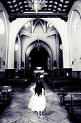 Gothic Dark Church Framed Prints - Girl in the Church Framed Print by Jenny Rainbow
