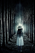 Spooky Trees Posters - Girl In The Forest Poster by Joana Kruse