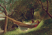 Lying Metal Prints - Girl in the Hammock Metal Print by Winslow Homer