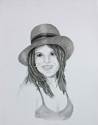 Mills Drawings - Girl in the Hat by Terri Mills