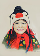 Penguin Drawings - Girl in the penguin cap by Tim Ernst