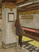 Cities Pastels Posters - Girl in the Subway Poster by Ann Caudle