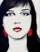 Earrings Drawings - Girl by Katia Zhukova