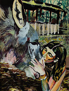 Donkey Glass Art Posters - Girl Kissing Donkey Poster by Lucia Marcus