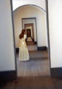 Period Clothing Prints - Girl Looking Down Hallway with Multiple Doorways Print by Jill Battaglia