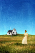 Anticipation Posters - Girl Near House on Prairie Poster by Jill Battaglia