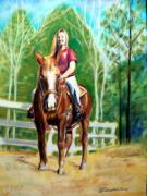 White Horses Pastels Framed Prints - Girl On A Horse Framed Print by Patricia L Davidson