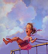 Kids Pastels Posters - Girl On A Swing Poster by Valerian Ruppert