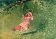 Green Dress Framed Prints - Girl on a Swing Framed Print by Winslow Homer