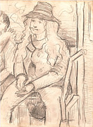 Thought Drawings - Girl On a Train by Al Goldfarb