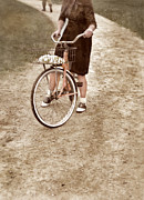 Bicycle Basket Prints - Girl on Bike Looking Back Print by Jill Battaglia
