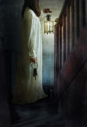 Candle Lit Posters - Girl On Stairs with Lantern and Keys Poster by Jill Battaglia