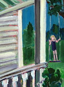 Swing Paintings - Girl on Swing by Betty Pieper