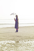 Melancholic Framed Prints - Girl On The Beach With Umbrella Framed Print by Joana Kruse