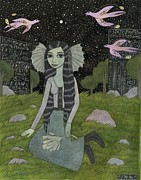 Williams Mixed Media Posters - Girl on the Edge of Town Poster by Bethy Williams