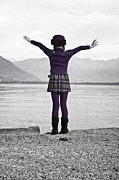 Standing Posters - Girl on the shores of Lake Maggiore Poster by Joana Kruse