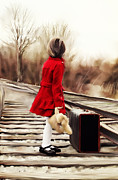 Back View Prints - Girl on Tracks Print by Stephanie Frey