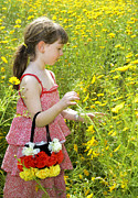 Girl 3 Framed Prints - Girl Picking Flowers Framed Print by Amir Paz