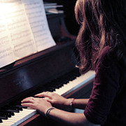 Brown Hair Posters - Girl Playing Piano Poster by Alison Titus