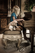 Girl Framed Prints Framed Prints - Girl Playing Piano with Dog Framed Print by Toni Thomas