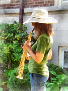 Saxophones Prints - Girl Playing Saxophone Print by Susan Savad