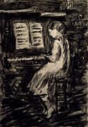 Girl Playing The Piano Print by Ricardo Di ceglia