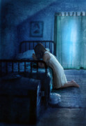 Prayer Room Posters - Girl Praying Before Bedtime Poster by Jill Battaglia