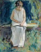 Toga Metal Prints - Girl Reading Metal Print by Henri Lebasque