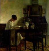 Dining Paintings - Girl Reading in an Interior  by Carl Holsoe