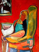 Diebenkorn Paintings - Girl Reading Newspaper by Chris  Easley