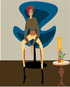Quirky Posters - Girl sitting down Poster by Demelza Everett