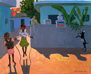 Village Paintings - Girl Skipping by Andrew Macara