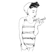 Pierced Ears Posters - Girl Smoking  Poster by Jodie Tyler