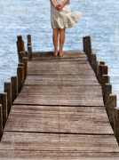 Thoughtful Lady Framed Prints - Girl Standing at the End of a Dock Framed Print by Jill Battaglia