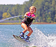 Susan Leggett Photo Metal Prints - Girl Trick Skiing Metal Print by Susan Leggett