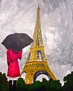 Umbrella Drawings Framed Prints - Girl viewing Eiffel Tower in the Rain Framed Print by Erika Butterfly