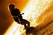 Susan Leggett Metal Prints - Girl Wakeboarding Silhouette Metal Print by Susan Leggett