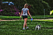 Dog Walking Photo Prints - Girl walking dog Print by Paul Ward