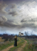 Pretty Clouds Prints - Girl Walking Toward Farmhouse Print by Jill Battaglia