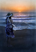 Sundress Prints - Girl Watching the Sun Go Down at the Ocean Print by Jill Battaglia