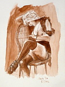 Sepia Ink Photos - Girl Wearing a Hat by Maty Dio