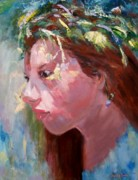 Wreaths Paintings - Girl Wearing Flower Wreath by Jamie Frier