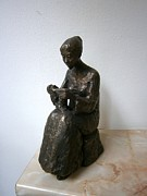 Girl Sculpture Originals - Girl who knits by Nikola Litchkov