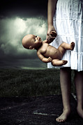Creepy Metal Prints - Girl With A Baby Doll Metal Print by Joana Kruse